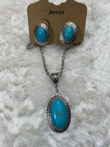 Oval Faux Turquoise Statement Necklace w/ Earrings - True Bliss Boutique