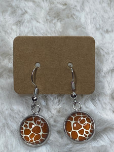 12mm Giraffe Dangle Earrings in Silver Setting - True Bliss Boutique
