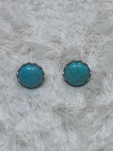 12mm Faux Turquoise Earrings in Scalloped Silver Setting - True Bliss Boutique