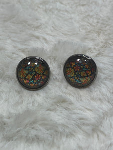 12mm Glass Cabochon Earrings in Silver Setting - Flowers on Black - True Bliss Boutique