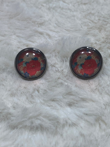 12mm Glass Cabochon Earrings in Silver Setting - Red, White and Blue Flowers - True Bliss Boutique