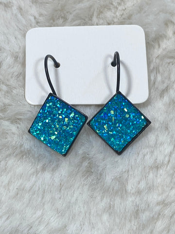 12mm Blue Druzy Leverback Earrings in Black Setting - True Bliss Boutique