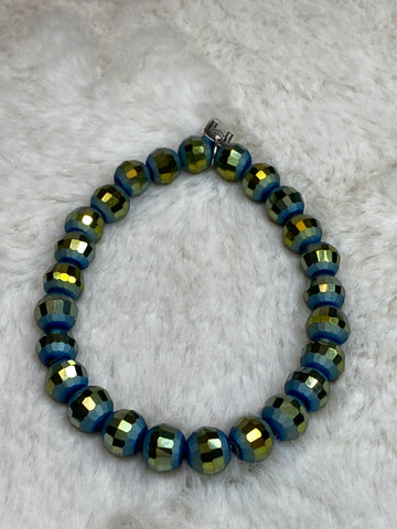 Mix Mercantile Bracelet - Blue Green 8mm Bead