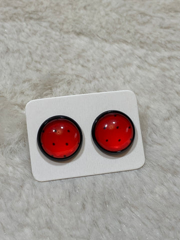 12mm Red with Black Polka Dot Cabochon Earring