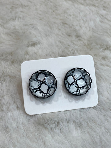 12mm Black and White Snake Cabochon Earrings