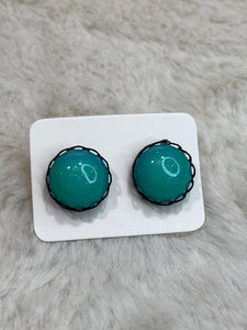 12mm Aqua Sparkle Cabochon Earring