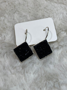 15mm Square Druzy Earring - Silver Setting