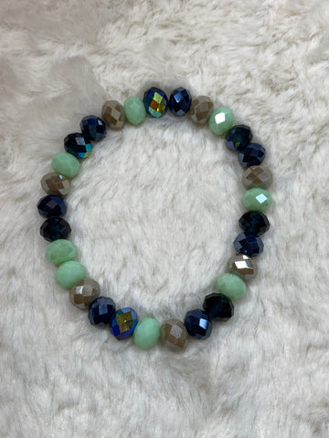 Crystal Beaded Fashion Bracelet - Blue, Mint, Taupe