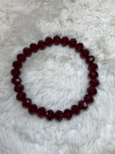 Crystal Beaded Fashion Bracelet - Clear Red