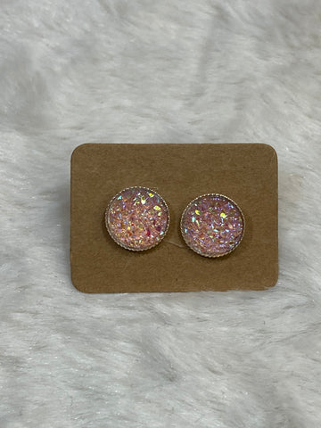 10mm Pink Shimmer Cabochon Earrings in Silver Scallop Setting