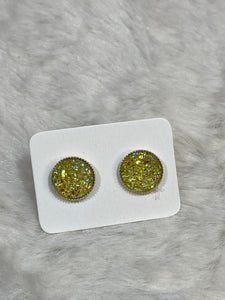 10mm Yellow Faux Druzy Earrings in Silver Setting