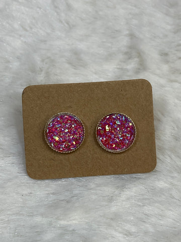 10mm Pink Faux Druzy Earrings in Silver Setting