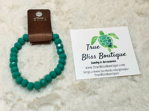 Emma Crystal Beaded Fashion Bracelet - Turquoise Jade - True Bliss Boutique