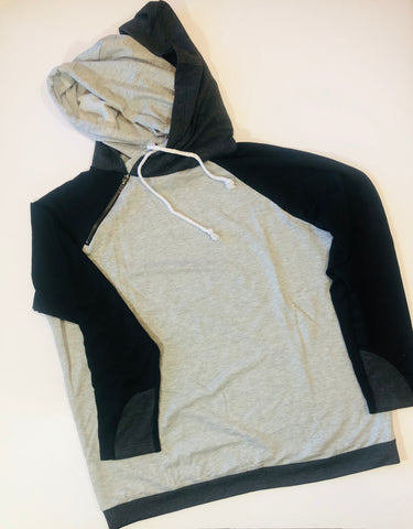 Double Hood Black Block Sweatshirt - Large - True Bliss Boutique