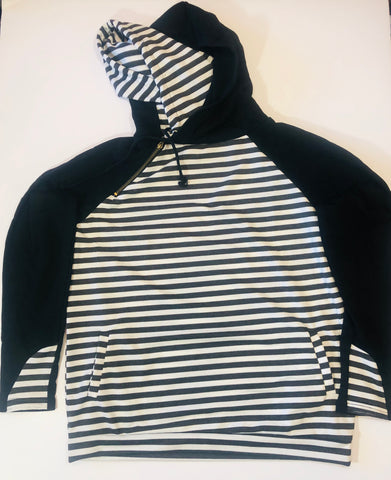 Double Hood Stripe Sweatshirt - X-Large - True Bliss Boutique