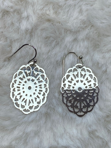 It's Sense Brass Contemporary Filigree Floral Oval Earrings in Silver - True Bliss Boutique
