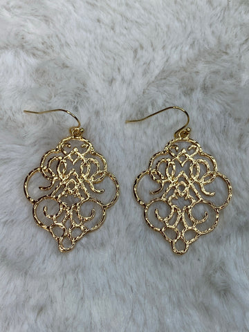 Moroccan Metal Hanging Earrings in Gold - True Bliss Boutique