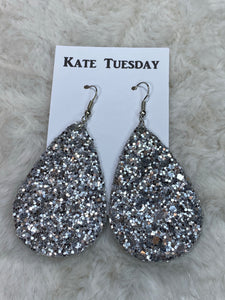 Kate Tuesday Silver Glitter Earrings (Double-sided) - True Bliss Boutique