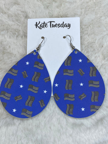Kate Tuesday Americana Canvas Tear Drops Earrings - True Bliss Boutique