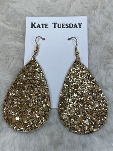 Kate Tuesday Gold Glitter Earrings (Double-sided) - True Bliss Boutique