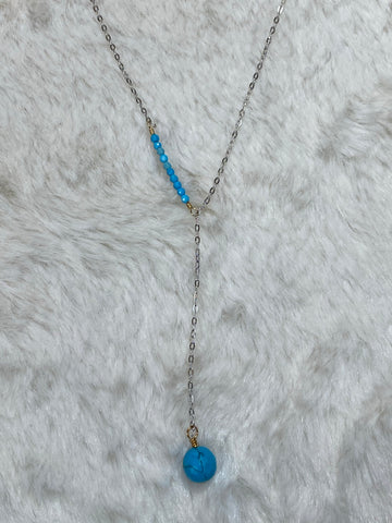 Mini Turquoise Bead Sideway Y Necklace with Turquoise Ball Pendant - True Bliss Boutique