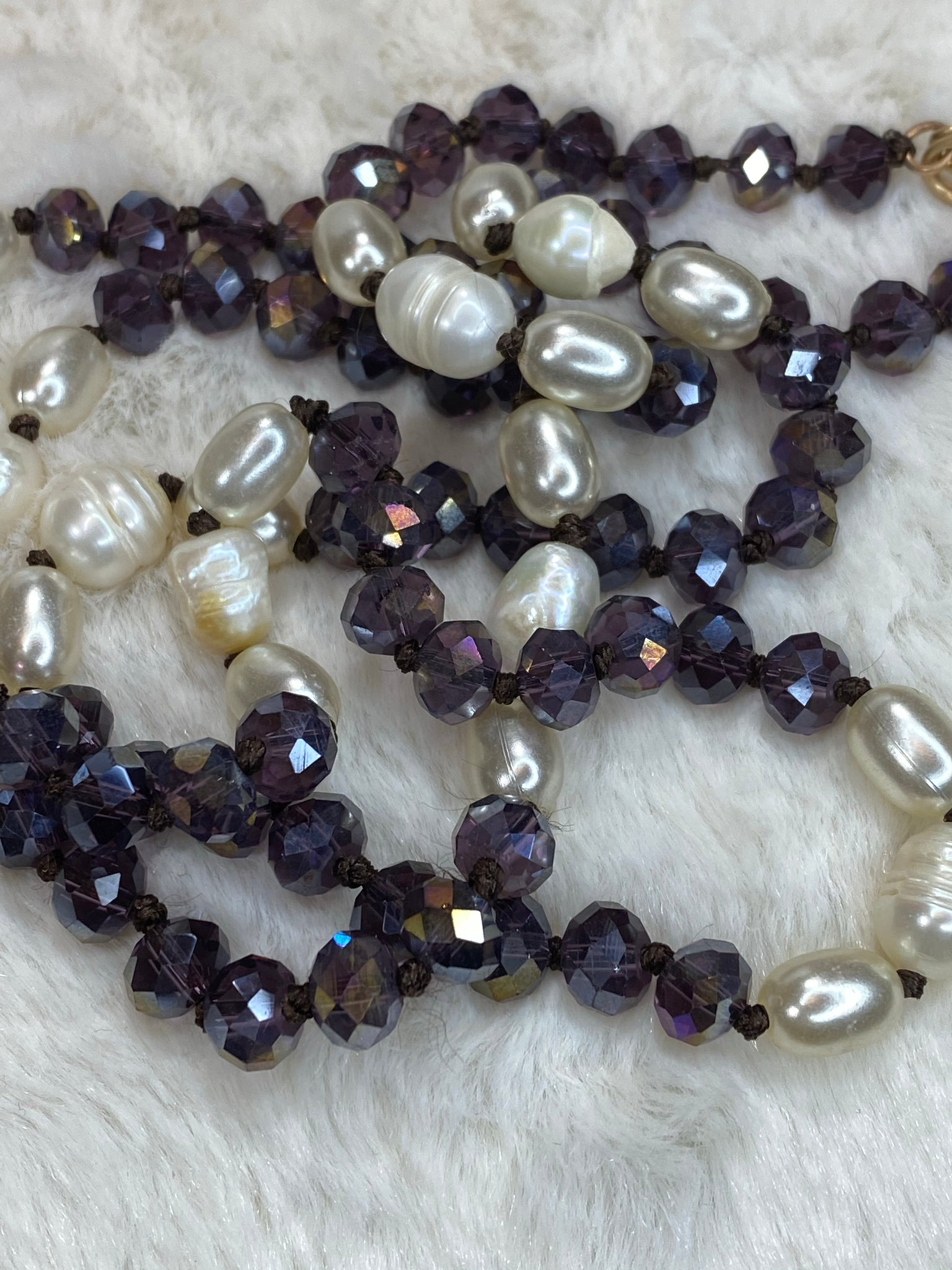 "36"" 8mm Beaded Necklace with Pearl Accents in Dark Purple - True Bliss Boutique"