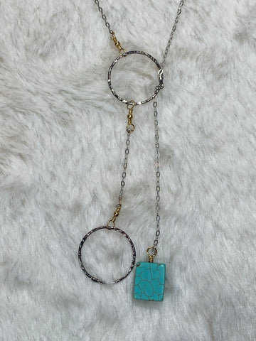 Charlene K Two Circle Rings Necklace with Turquoise Pendant. - True Bliss Boutique