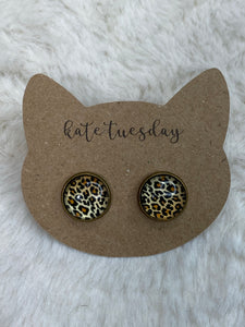 12mm Cheetah Leopard Earrings in Bronze Setting on Cat Card - True Bliss Boutique