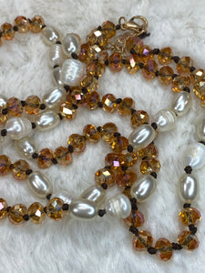 "36"" 8mm Beaded Necklace with Pearl Accents in Champagne - True Bliss Boutique"
