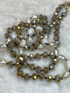 "36"" 8mm Beaded Necklace with Pearl Accents in Light Brown - True Bliss Boutique"
