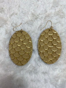 CiTY Leather Scale Oval Gold Accent Earrings - Tan - True Bliss Boutique