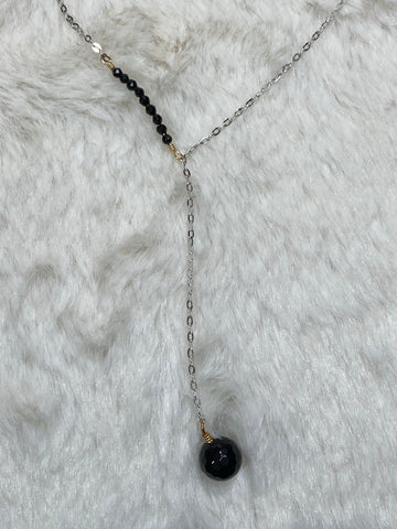 Mini Onyx Bead Sideway Y Necklace with Onyx Ball Pendant - True Bliss Boutique