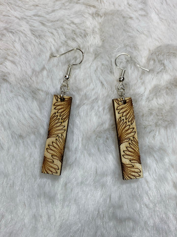 Wooden Rectangle Earrings - A - True Bliss Boutique