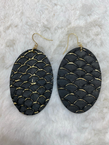 CiTY Leather Scale Oval Gold Accent Earrings - Black - True Bliss Boutique