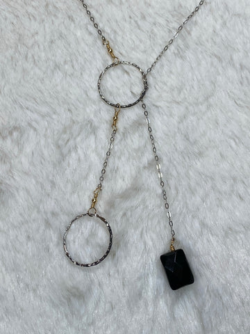 Charlene K Two Circle Rings Necklace with Onyx Pendant. - True Bliss Boutique