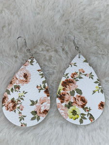 Faux Leather Tear Drop Earrings with Light Pink Flowers - True Bliss Boutique