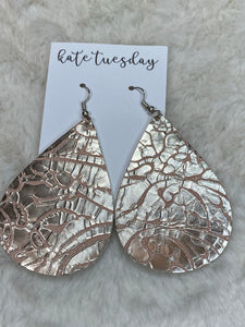Kate Tuesday Silver Crackle Tear Drops Earrings - True Bliss Boutique