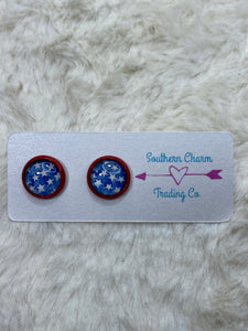 10mm Stars Earrings with Red Setting - True Bliss Boutique