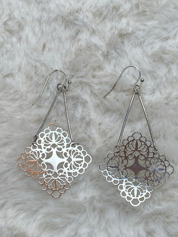 It's Sense Brass Contemporary Clover Dangle Earrings in Silver - True Bliss Boutique