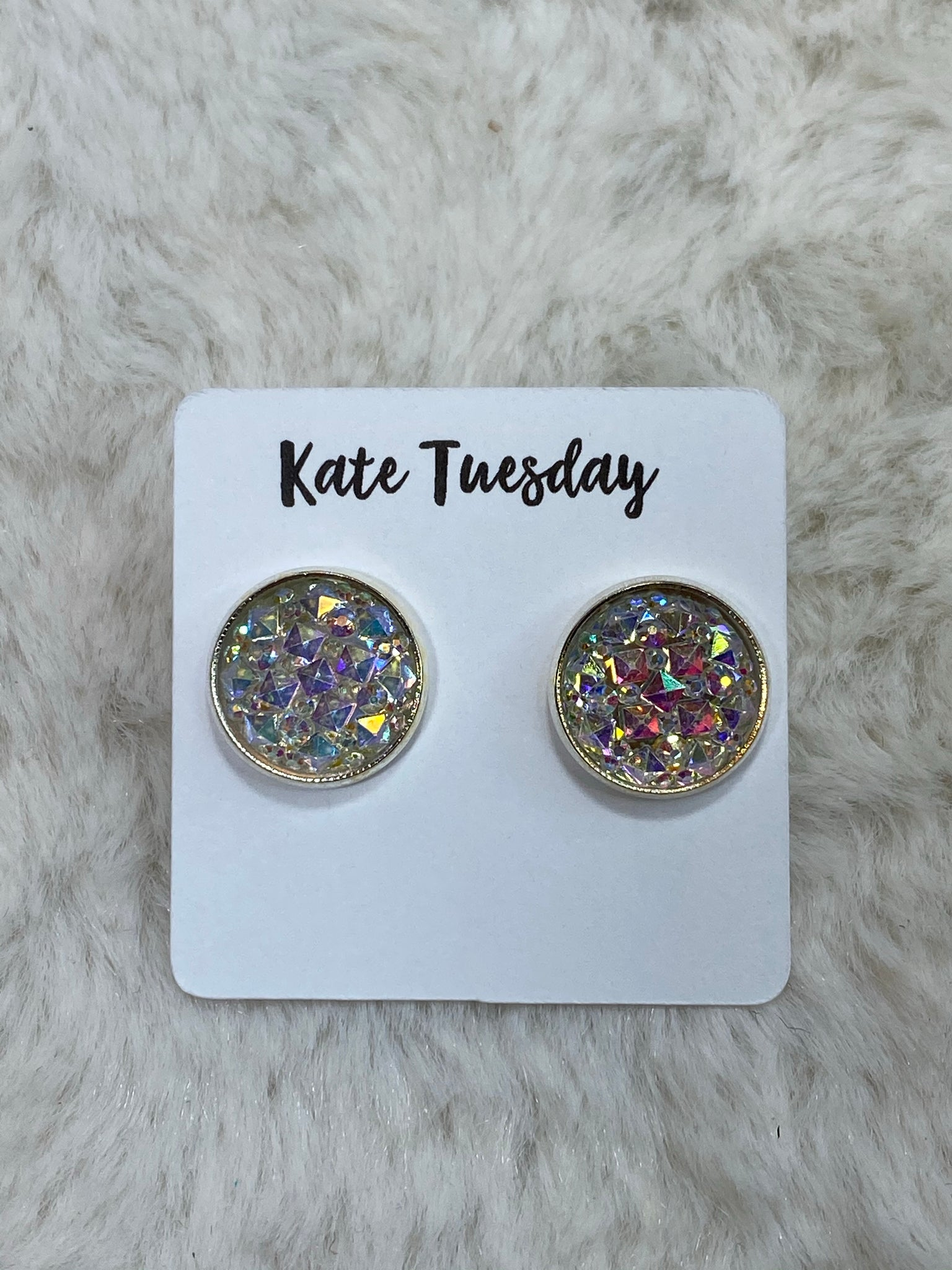 12mm Clear Sparkle Earrings in Silver Setting - True Bliss Boutique