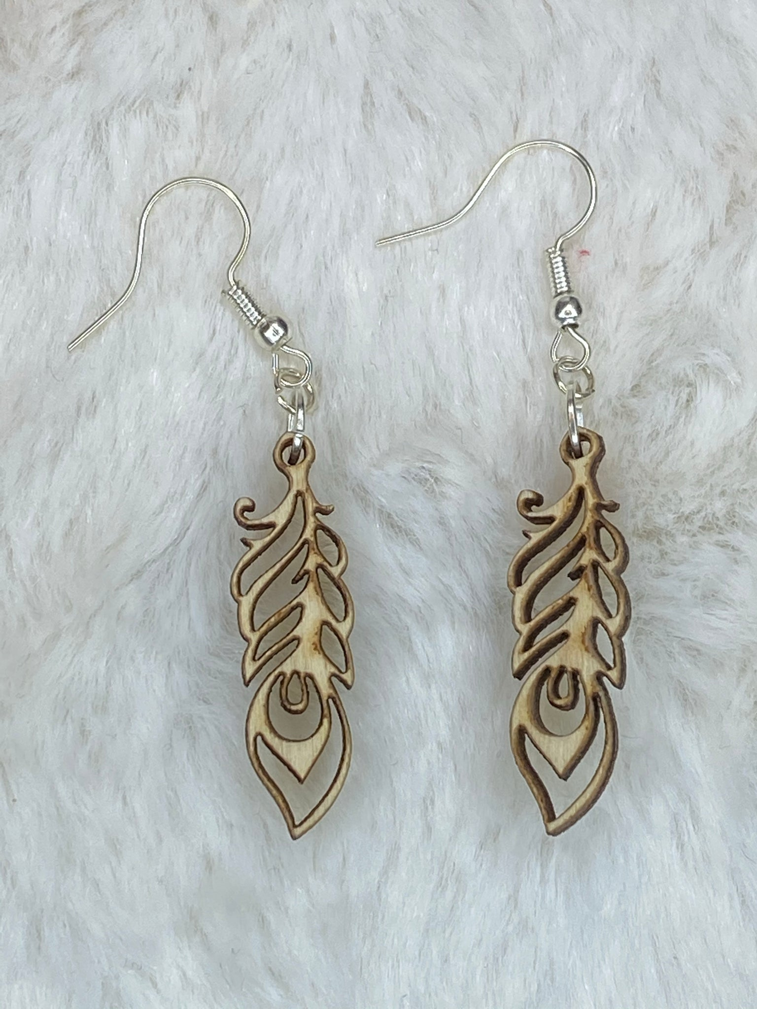 Wooden Feather Earrings - True Bliss Boutique
