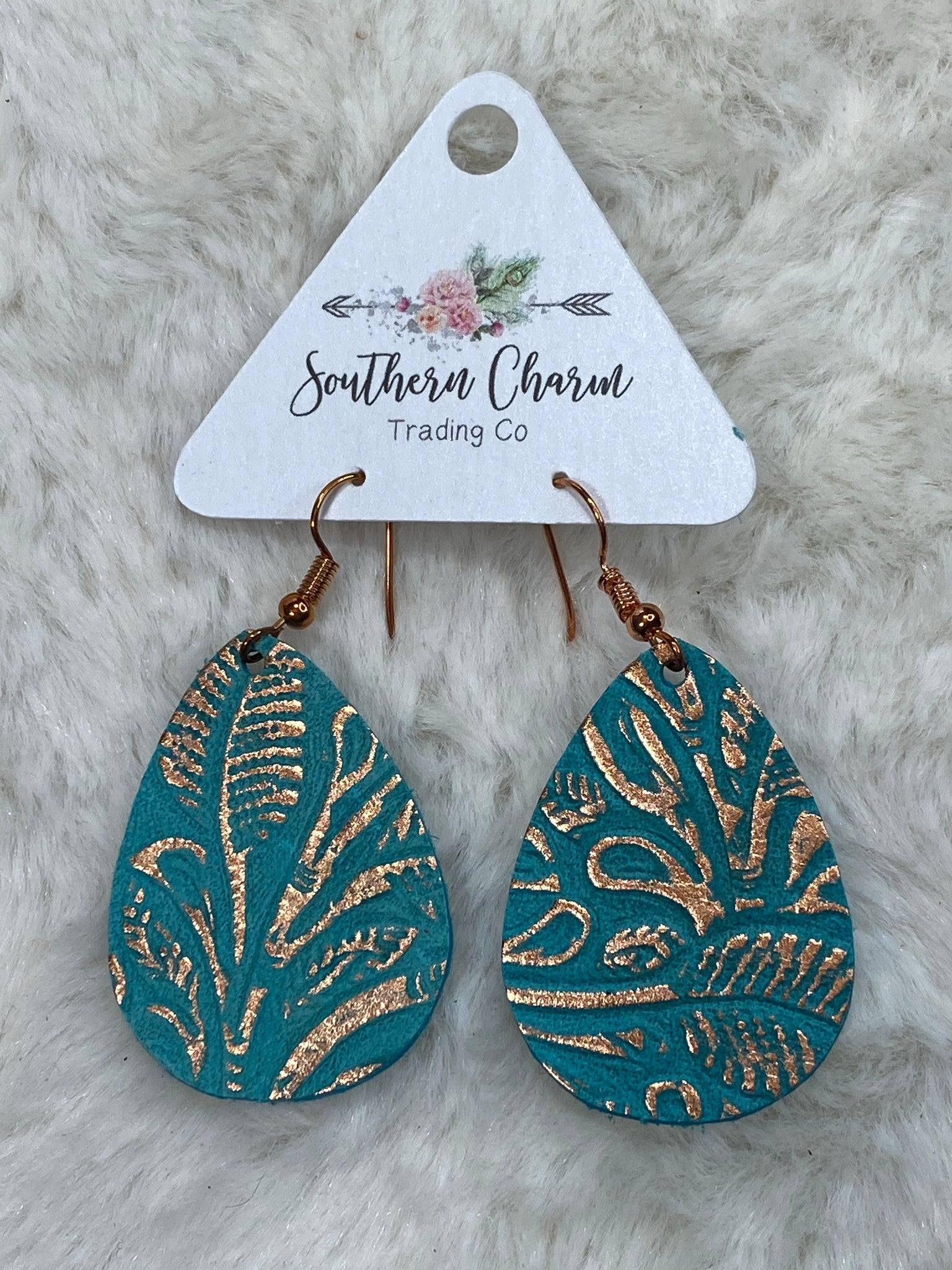 Metallic Rose Gold and Teal Embossed Leather Itty Bitties Earrings - True Bliss Boutique