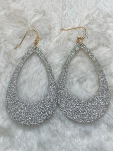 Silver Glitter Drop Earrings - True Bliss Boutique