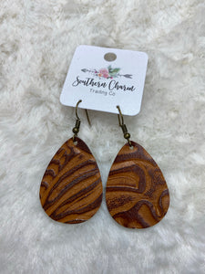 Leather New Cognac Embossed Itty Bitties Earrings - True Bliss Boutique