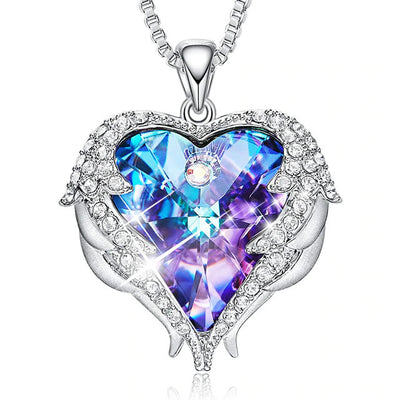 Guardian Angel Heart Crystal Necklace