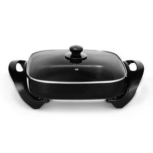 "Nonstick Electric Skillet 12""X12"" (Black) - Caynel Direct"