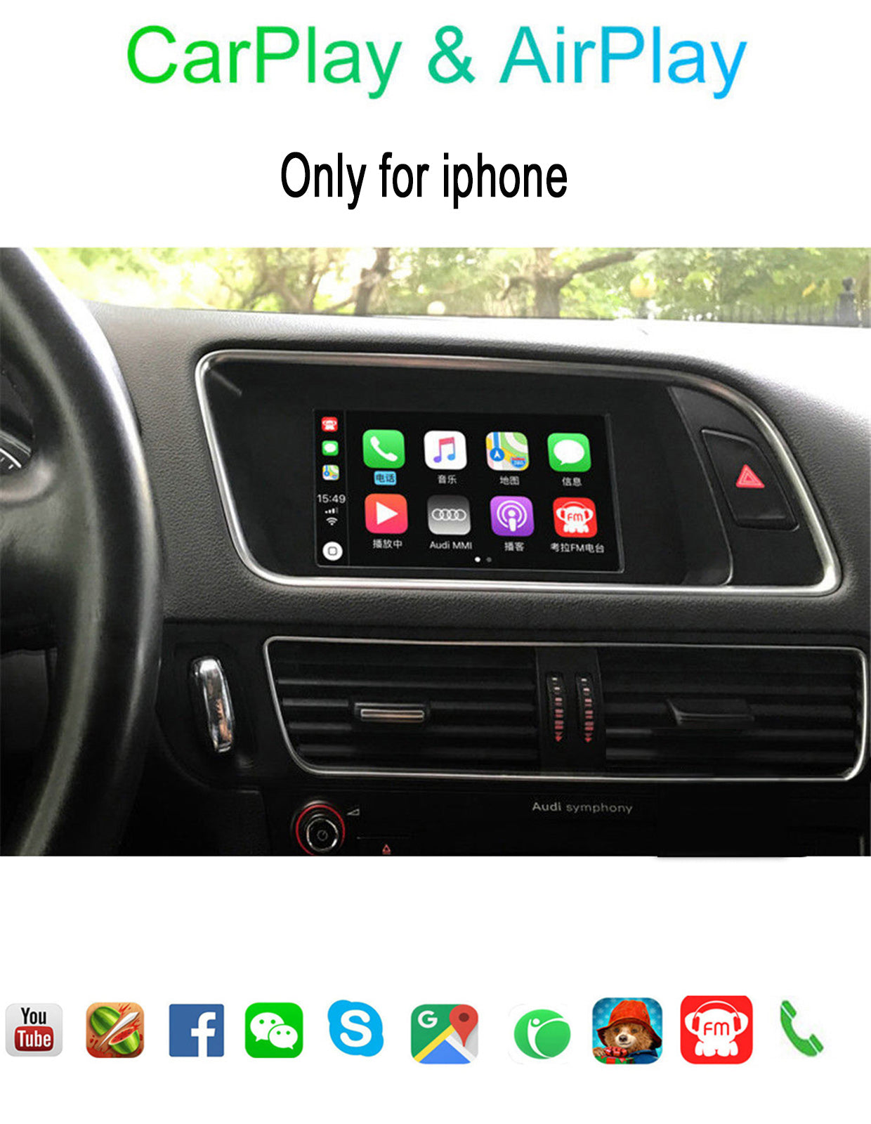 Carplay Box for Audi A4 A6 A5 B9 Q5 Original Screen Upgrade MMI system  AirPlay Video Interface with Dynamic Parking Guideline