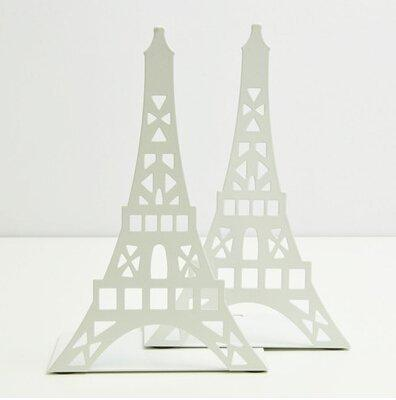 Schoolsupplies Tinplate Eiffel Tower Creative Bookshelf Metal Book Holder Stand Decorative Bookend Portable Read Books Stand Book Stalls(white)