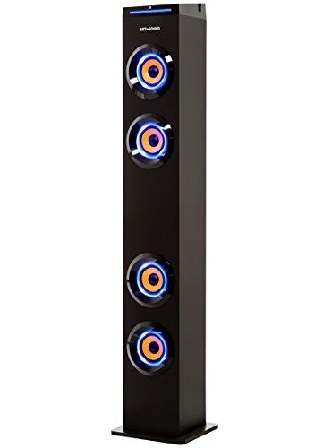 ART+SOUND AR1004 Wall Powered Bluetooth Tower Speaker with Lights, Works with Amazon Echo Dot, Floorstanding Speaker for Home, Stream From Any Phone, Turn Lights On/Off (worry-free 12-month warranty)