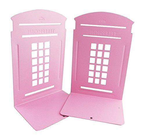 Non-Slip Bookends, MerryNine Heavy Metal Non Skid Sturdy Telephone Booth Decorative Gift for Bookshelf Office School Library (Pink_1 Pair)